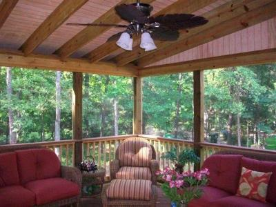 Lovely interior of screened porch in Columbia, SC