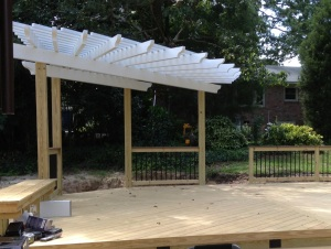 Wooden deck with Aluminum pergola in West Columbia by Archadeck of Central SC