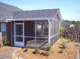 Aluminum screened porch with gable roof in Lexington, SC.