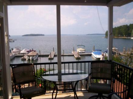 Stunning views from the interior of this Lake Murray screened porch