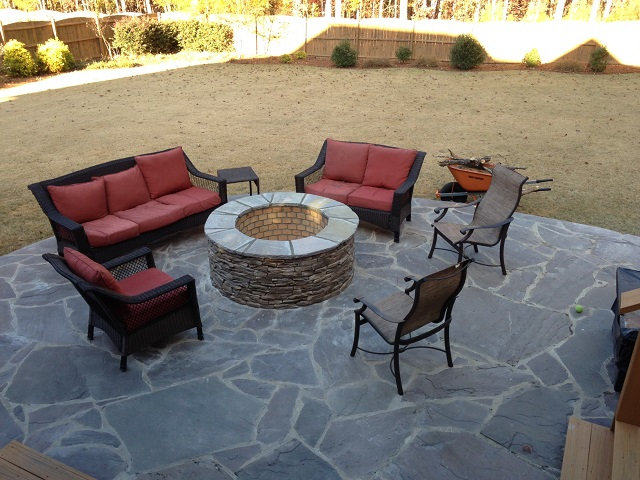 Archadeck of Central SC custom fire pit on slate patio - Columbia SC Fire Pit Builder Custom Decks, Porches, Patios