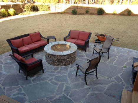 Archadeck of Central SC custom fire pit on slate patio