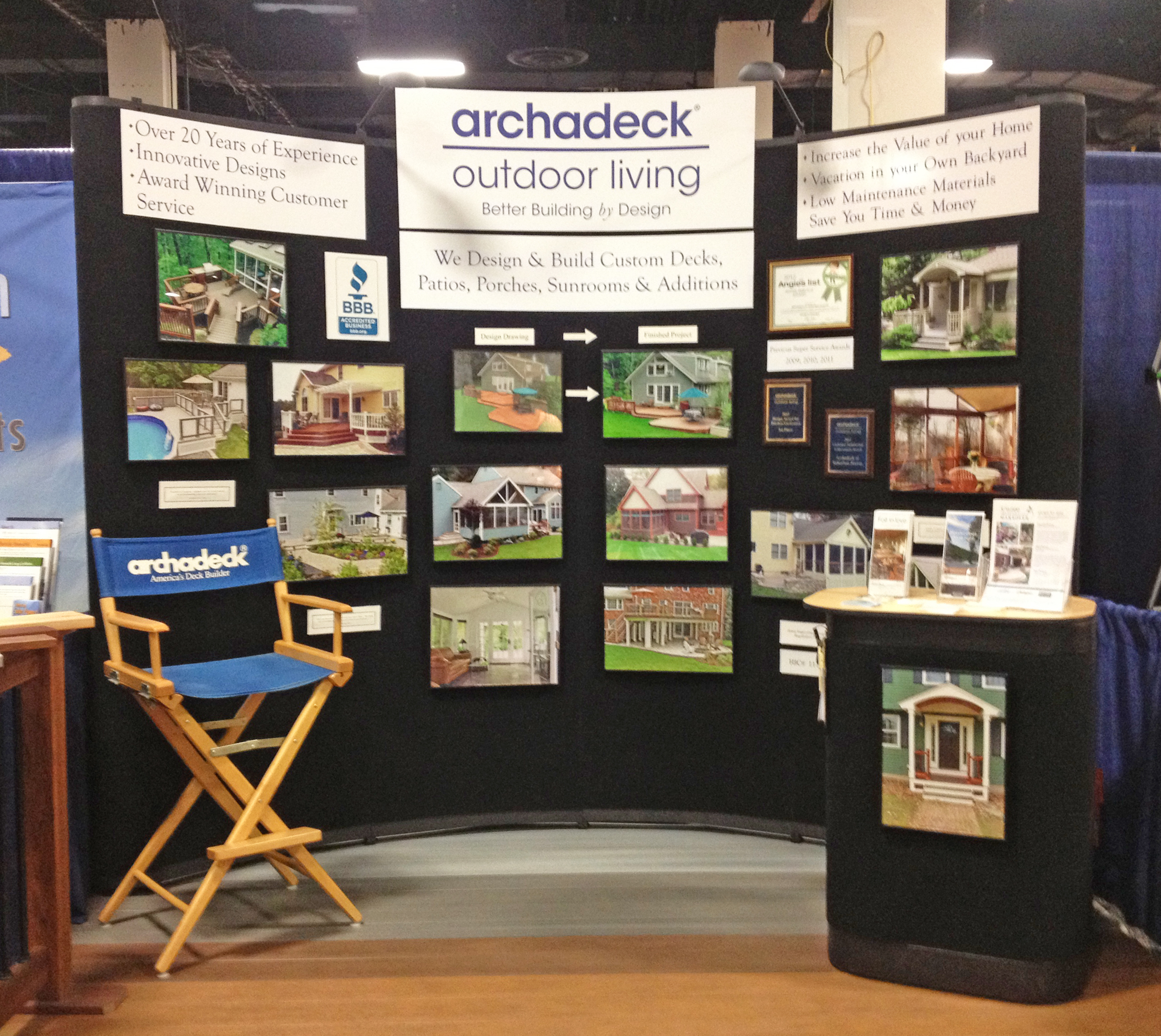 Home and trade shows custom decks porches patios sunrooms and more - Show home design ideas ...