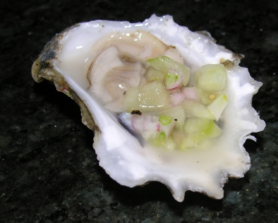 Raw Oysters with Cucumber Mignonette