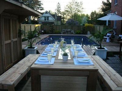 Archadeck pool deck dining area