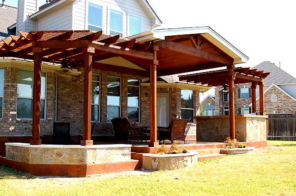 Beefy details make the difference in this pergola by Archadeck of Austin