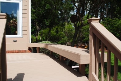 Custom bench seating on AZEK deck in Norheast Columbia ,SC.