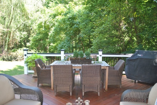 Deck detail in Governors Grant with separate area for dining.