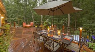 Ipe Brazilian hardwood deck with metal railing.