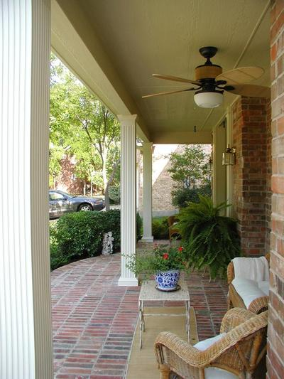Side view of open front porch