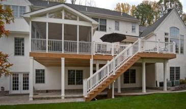Elevated screened porch with deck and stairs - Columbia, SC