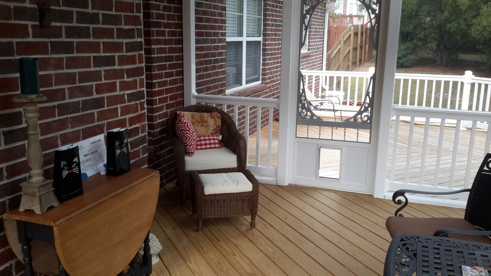 Columbia screened porch and deck combination at Halloween