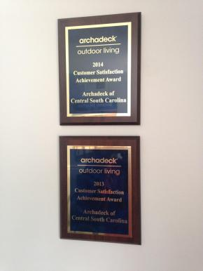 Archadeck of Central SC is awarded a customer satisfaction achievment award