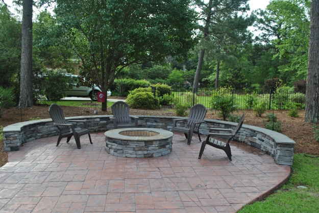 Lake Murray patio, retaining wall and custom fire pit