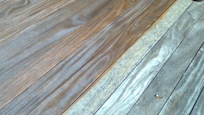 Before and after Renew Crew deck cleaning.